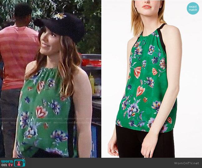 Bar III Printed Sleeveless Top worn by Elizabeth Hendrickson on General Hospital