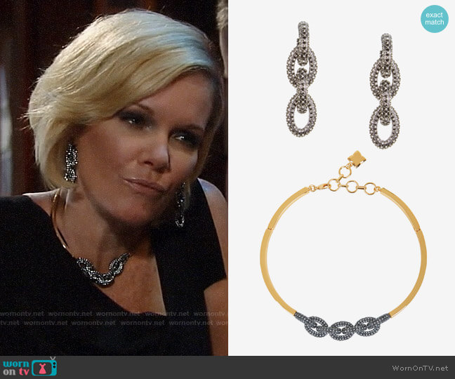 Bcbgmaxazria Pave Chain Link Earrings and Necklace worn by Ava Jerome (Maura West) on General Hospital
