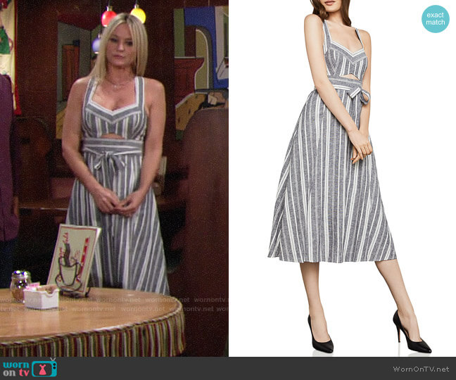 Bcbgmaxazria Striped Cutout Midi Dress worn by Sharon Case on The Young & the Restless