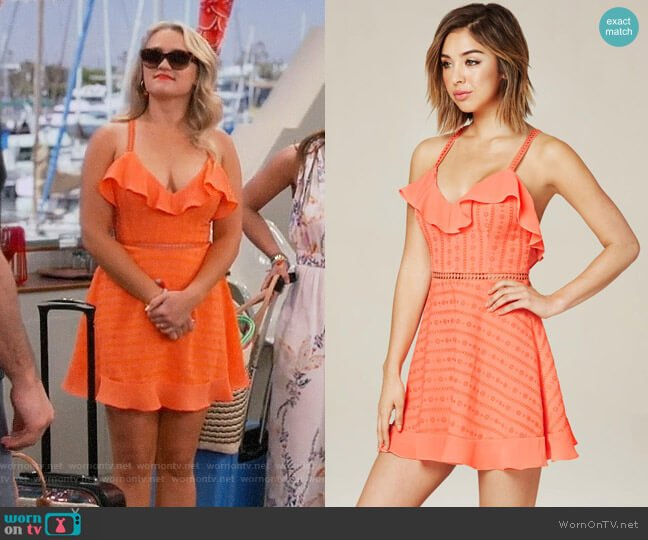 Bebe Ruffled Cross Back Dress worn by Gabi Diamond (Emily Osment) on Young & Hungry
