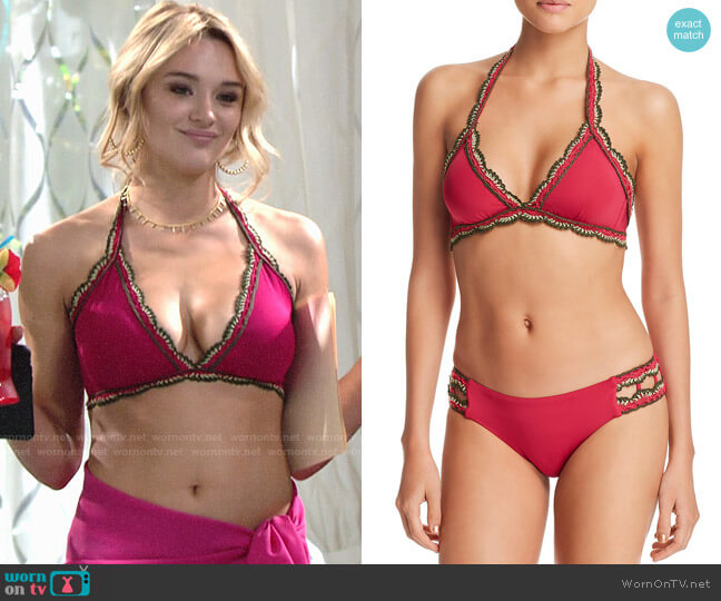 Becca Virtue Medina Halter Bikini Top in Raspberry worn by Summer Newman (Hunter King) on The Young & the Restless