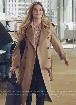 Sutton's beige trench coat on The Bold Type