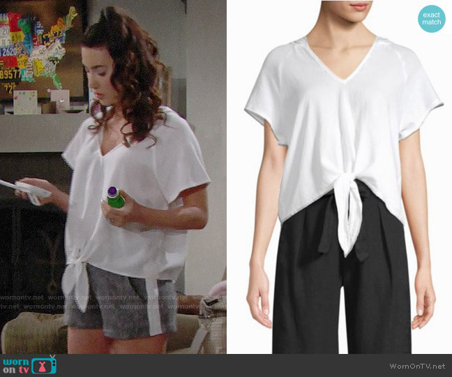 Bella Dahl Tie Front Hoodie worn by Steffy Forrester (Jacqueline MacInnes Wood) on The Bold & the Beautiful
