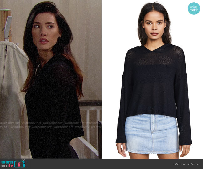 Beyond Yoga Cast Away Cropped Hoodie worn by Steffy Forrester (Jacqueline MacInnes Wood) on The Bold & the Beautiful