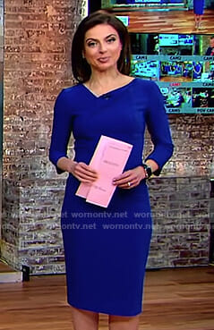 Bianna's blue folded neck dress on CBS This Morning