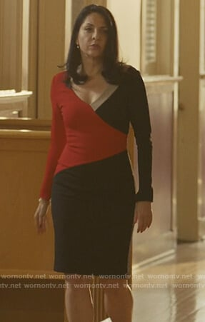 Camila's red and black colorblock dress on Queen of the South