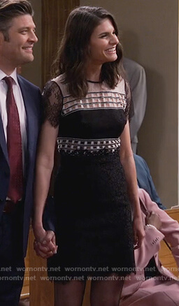 Leslie's black and white lace dress on Living Biblically