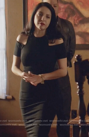 Camila's black cold shoulder dress on Queen of the South