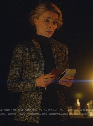 Lizzie's black crosshatch jacket on Instinct