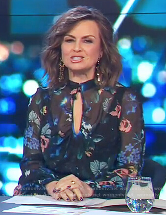 Lisa's black floral print key hole blouse on The Project