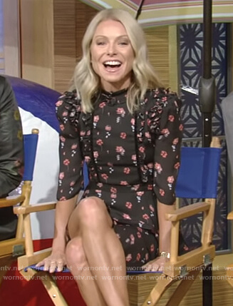 Kelly's black floral print tiered dress on Live with Kelly and Ryan