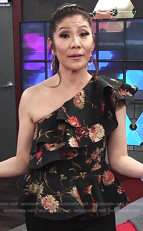 Julie's black floral print ruffle top on Big Brother