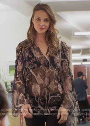 Phoebe's black floral sheer blouse on Girlfriends Guide to Divorce