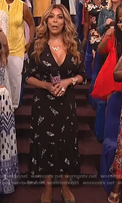 Wendy's black floral print wrap dress on The Wendy Williams Show