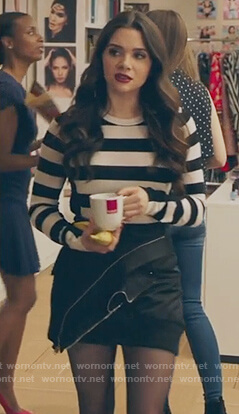 Jane's striped sweater and black mini skirt on The Bold Type
