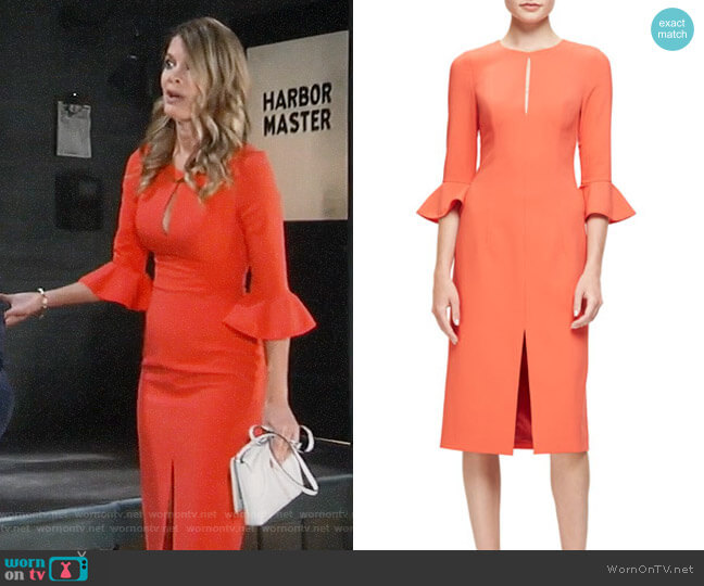 Black Halo 3/4-Sleeve Stretch Crepe Sheath Dress worn by Michelle Stafford on General Hospital