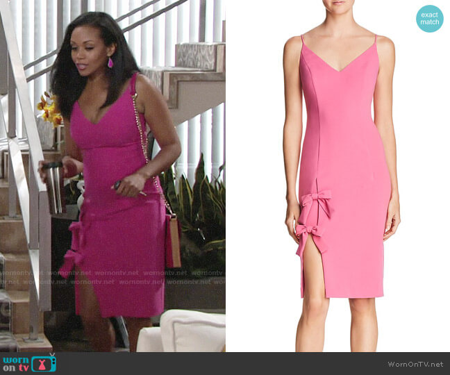 Black Halo Pink Mystic Bow Dress worn by Hilary Curtis (Mishael Morgan) on The Young & the Restless