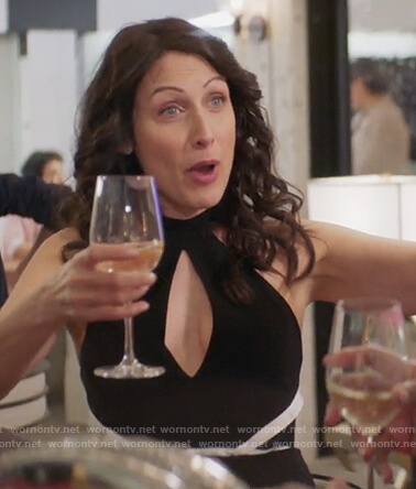 Abby's black and white halterneck dress on Girlfriends Guide to Divorce