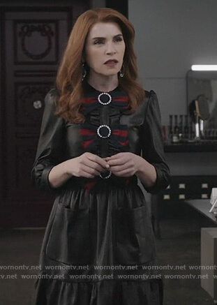 Kitty's black leather bow embellished dress on Dietland