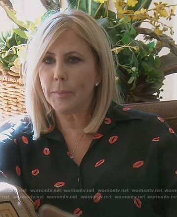 Vicki's black lip print blouse on The Real Housewives of Orange County