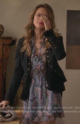Phoebe's black ruffle jacket on Girlfriends Guide to Divorce