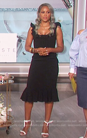 Eve's black ruffle square neck dress on The Talk