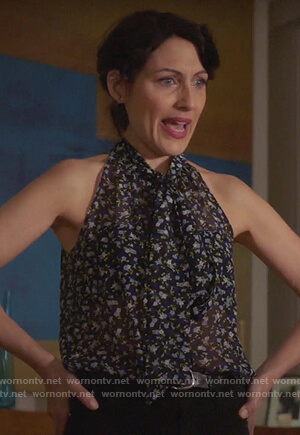 Abby's black floral print tie neck top on Girlfriends Guide to Divorce