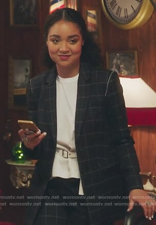 Kat's black windowpane suit and white belted t-shirt on The Bold Type
