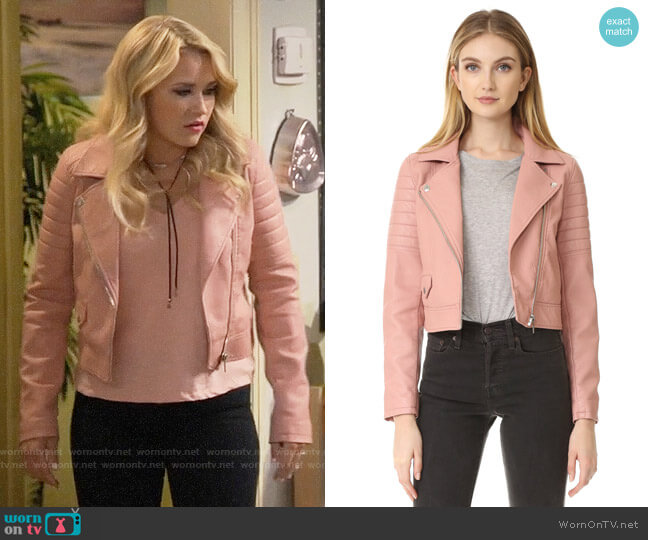Blank NYC Pretty in Pink Moto Jacket worn by Emily Osment on Young & Hungry