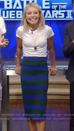 Kelly's blue and green striped midi skirt on Live with Kelly and Ryan