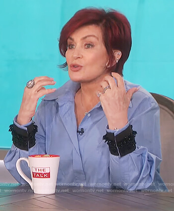 Sharon's blue embellished cuff blouse on The Talk