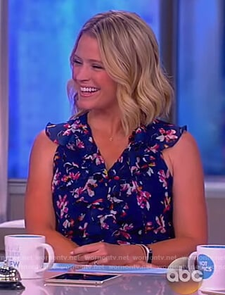 Sara's blue floral print mini dress on The View