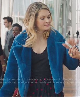 Sutton's blue fur cropped jacket on The Bold Type