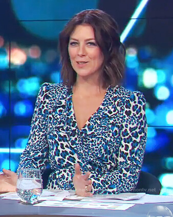 Gorgi's blue leopard print dress on The Project