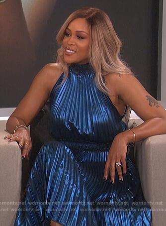 Eve's blue pleated metallic dress on The Talk