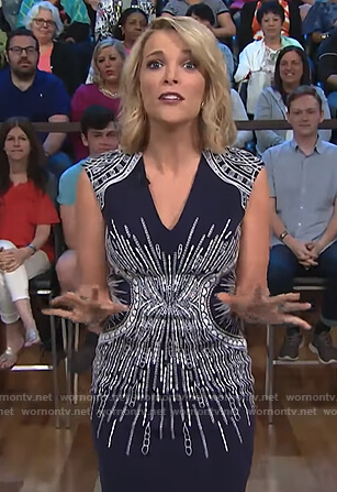 Megyn's navy embroidered sheath dress on Megyn Kelly Today