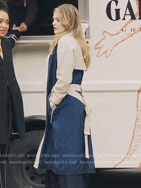 Sutton's blue and beige striped trench coat on The Bold Type