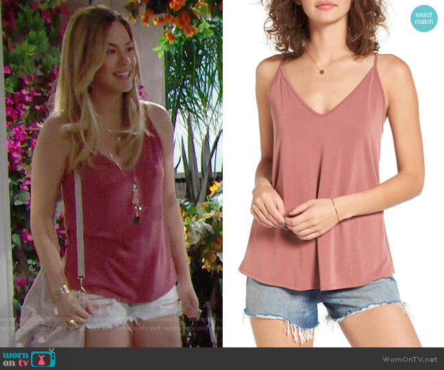 BP Double V Swing Camisole in Pink Mauve worn by Hope Logan (Annika Noelle) on The Bold & the Beautiful