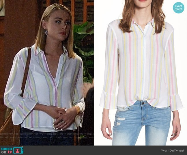 BP Stripe Bell Sleeve Top worn by Kiki Jerome (Hayley Erin) on General Hospital