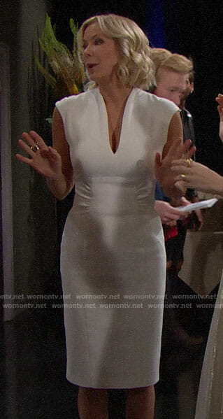Brooke's white v-neck sheath dress on The Bold and the Beautiful