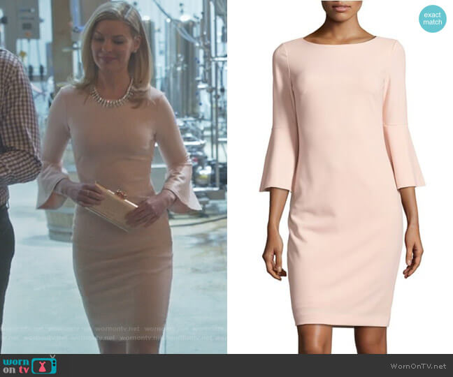 Bell-Sleeve Sheath Dress by Calvin Klein worn by Kylee Evans on Good Witch
