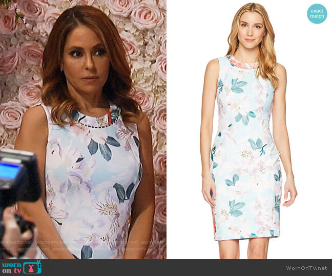 Calvin Klein Printed Sheath Dress w/ Pearls at the Neck worn by Olivia Falconeri (Lisa Lo Cicero) on General Hospital
