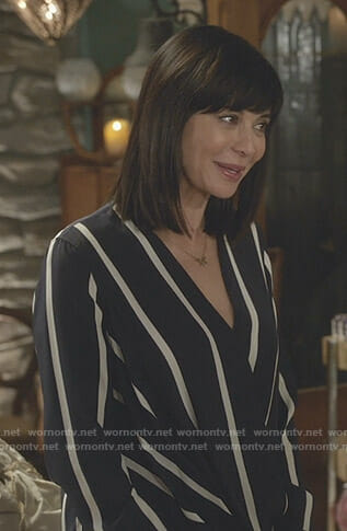 Cassie's navy striped blouse on Good Witch