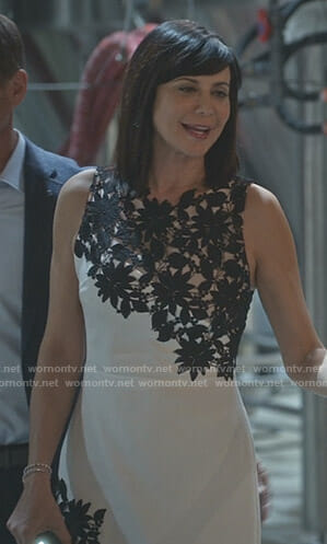 Cassie's white and black floral lace dress on Good Witch