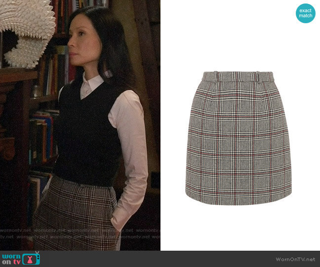 Carven Checked Wool Blend Mini Skirt worn by Joan Watson (Lucy Liu) on Elementary