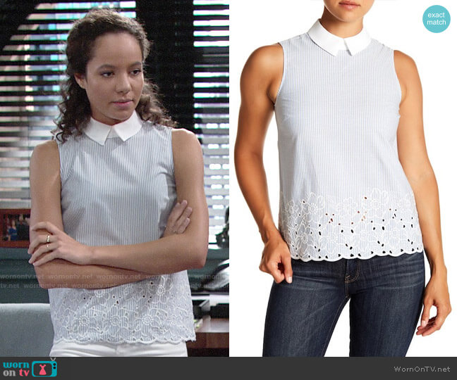 Cece Collared Embroidered Blouse worn by Mattie Ashby (Lexie Stevenson) on The Young & the Restless