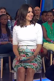 Cecilia's floral and bird print belted dress on Good Morning America