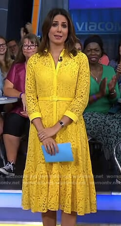 Cecilia's yellow lace shirtdress on Good Morning America