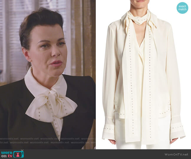 Rhinestone Tie Neck Blouse by Chloe worn by Maggie (Debi Mazar) on Younger