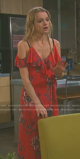 Claire's red floral cold-shoulder dress on Days of our Lives